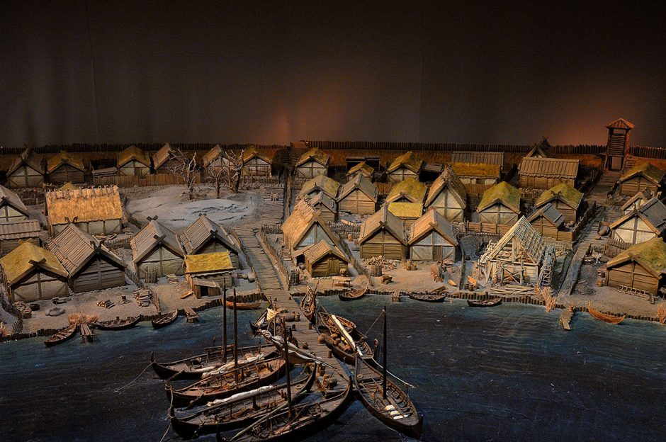Model of the harbour area of the Birka trading settlement.