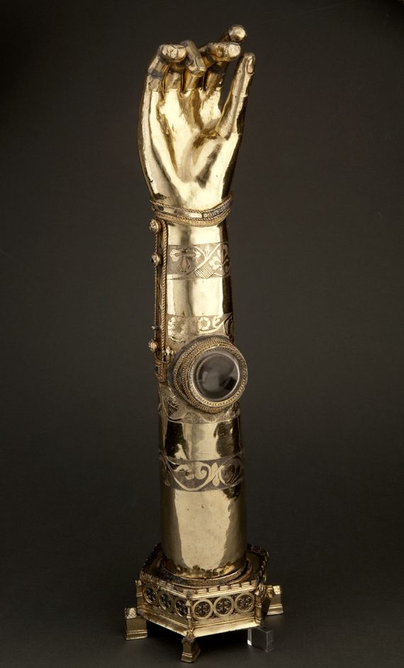 Silver gilt reliquary for a finger bone of St Bridget.