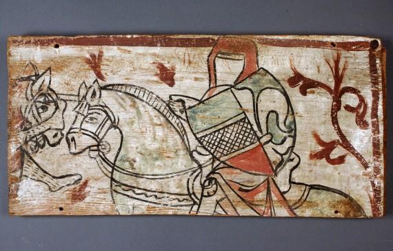 Riddare, målning på träpannå, Gotland, Väte kyrka,1250-1300. SHM 3094:3A