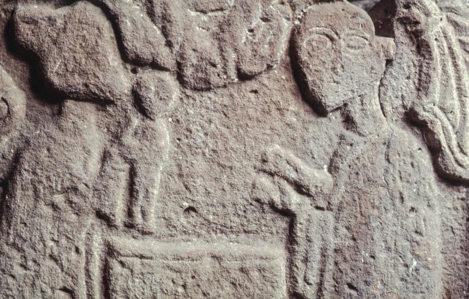 Dopscen från dopfunt, 1100-talet, Kropp kyrka i Skåne. Foto: Lennart Karlsson