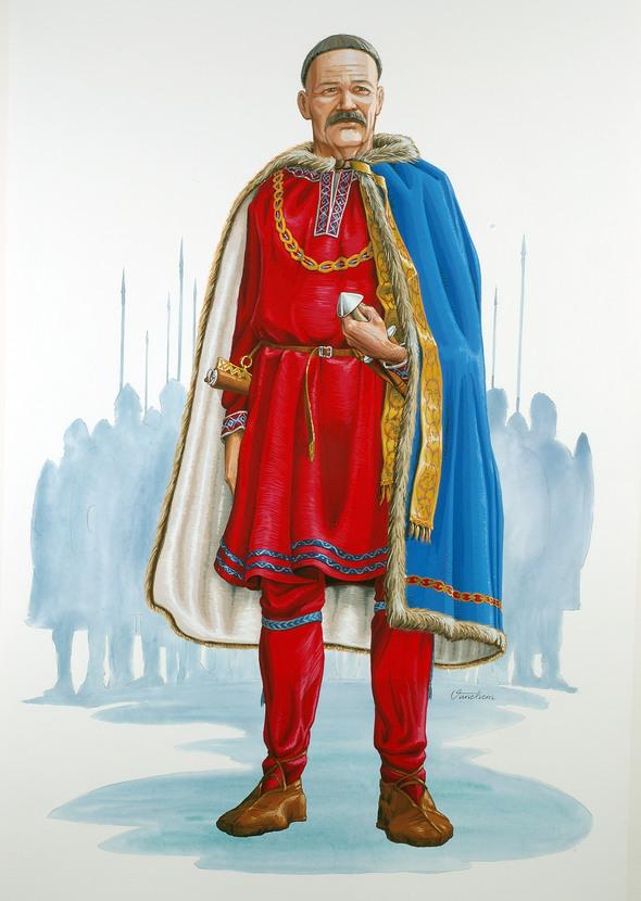 Så här kanske godsherren från Vendel såg ut. Illustration Mats Vänehem