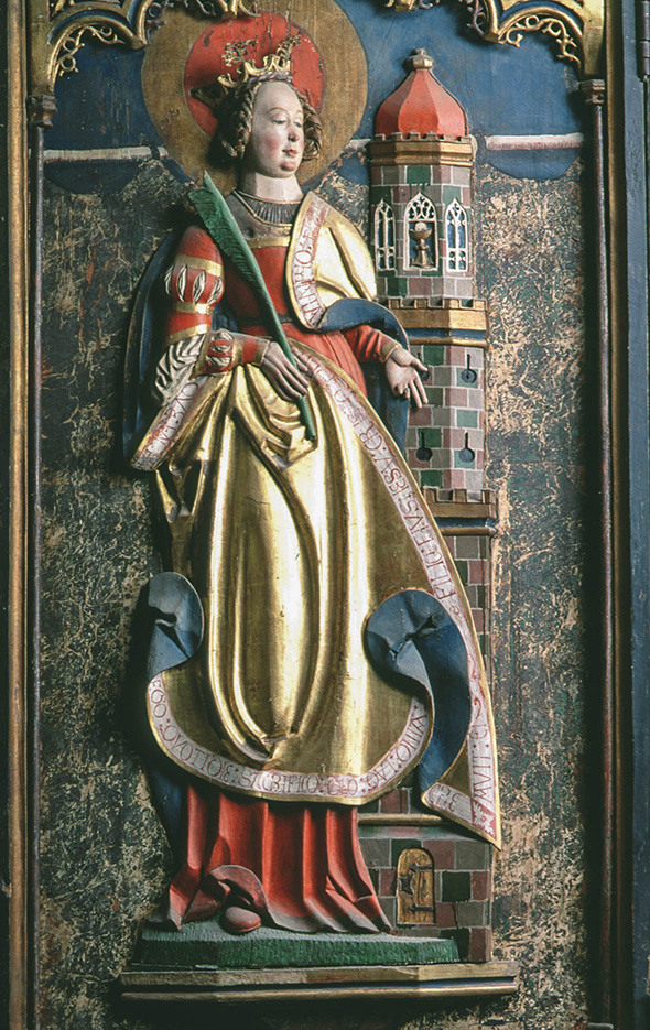 Barbara avbildad på ett altarskåp från Västra Ed i Småland, daterat till 1526 Inventarienr: 3776:1 Foto: Lennart Karlsson/SHM