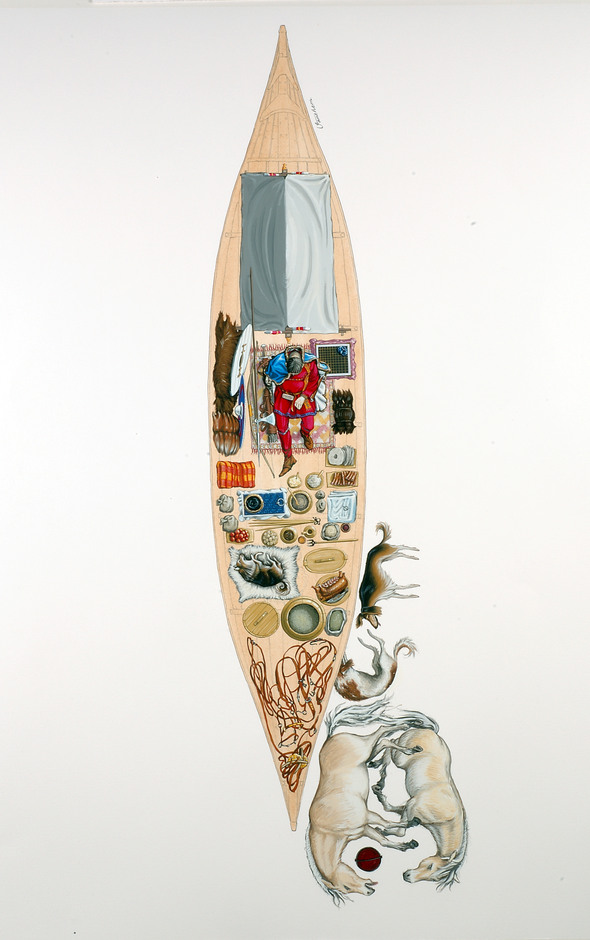 Båtgrav nr 9 i Vendel. Illustration: Mats Vänehem