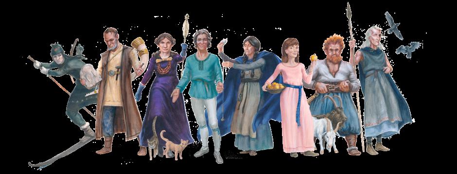 illustration av gudarna ur den nordiska mytologin
